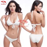 2015 New Fashion High quality Solid Sexy Halter Bow BIKINI Swimsuit Bottoms Bikini Set Swimwear Triangle Bikini V032
