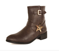PU leather chunky women fashion autumn winter buckle strap mid-calf boots with sequined martin boots size 39 free shipping
