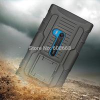 Black 3 in 1 Full Body Silicon+Plastic Hybrid Tank Armor Stand Case for Nokia Lumia 920