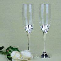 China post air mail free shipping Wedding Toasting Flutes -Silver Metal Base Bottom Hollow Heart Toasting Flutes