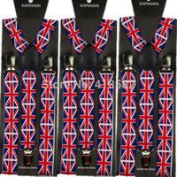 2015 New Arrival men suspenders UK flag print color suspenders 100cm lenth 2.5 width 3 lipcs braces free shipping