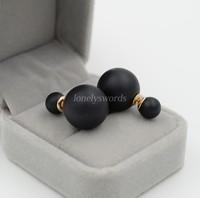 NEW Fashion Design Women Earrings Shining Black color Studs Earrings Big Double Pearl Ear jewelry accessories for women Gift