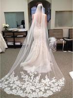 2015 Vintage One Layer Tulle Appliqued Wedding Bridal Veils