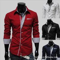 Fashion men  long-sleeve personalized slim shirt  best brand checked dress shirts for men designer U 047