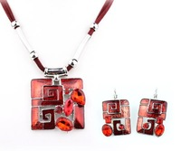 Top Quality Square Enamel  Fashion jewelry set Women's Party gift  Cords Necklace and earrings set Gifts A037