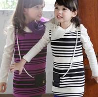 2015 Spring New Children Clothing Korean Pure Cotton Girl Dress Fashion Bag Stripe Big Bowknot Kids Princess Dresses TR49