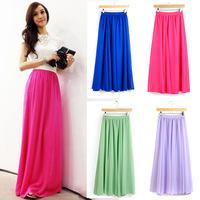 New Fashion 2014 Spring Summer Fashion Long Chiffon Skirts Female Candy Color Pleated Maxi Womens Skirts high waist full