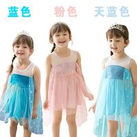 2014 Girls Clothes Hot Sale Frozen Dress Han Edition Style Cure Girls Dress Elsa Costume Dress for Summer Freeshipping
