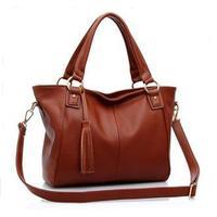 New 2015 Women Handbag Genuine Leather Bag Cowhide Women Shoulder Bag Women Tassel Messenger Bags Vintage Handbag Women Bag 265