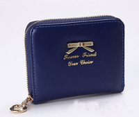 2014 women bag small size PU leather shinning ladies'purse gold bowknot decorate card holder women wallets  CC108