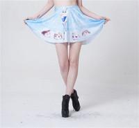 Fashion Cartoon Skater Skirts New Women Saias Female Pleated Skirt for Women Elastic Waist Saia Hot Sale S119-251