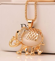 Beauty Elephant Pendant Crystals Necklace 18k Gold Long Chain 2015 New Fashion Brand Jewelry Valentine's Day Gift