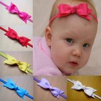 "10pcs/lot Baby Bow Elastic Headbands,3.3""-3.5""Baby Ribbon Bows Glued On 1.5cm FOE Headbands,Girl Hair Accessories Free Shipping"