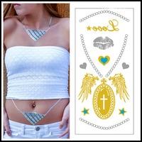 New Fashion Body Arm Flash Tattoo Sticker Choker Necklace Heart Letters Fashion Design Glitter Jewelry Tattoo 5 pcs/lot