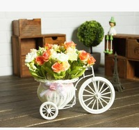 Home decorative rose display flower with bicycle rattan vase set living room table artificial flowers for wedding decoration