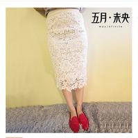 Free shipping 2014 New Fashion Brand European Amerrican High Quality UK Plus Size Women High Waist Bandage Pencil Lace Skirt