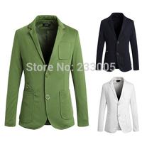 2014 New Styles Pocket Designs Men Blazer Jacket Slim Fit Casual High Quality Cheap Mens Blazers Men Suit White/Green/Navy M-XXL