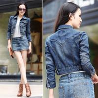 2015 China Popular Female Spring Autumn Jeans Jackets Women Short Cotton Jacket Blue Casual Long-Sleeve Denim Coat Jackets