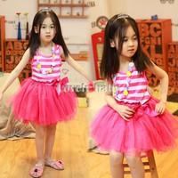 Retail 1 Pcs Kids Clothes Girl Dress Summer 2015 Sleeveless Stripe Bowknot Lace Girls Casual Princess Dress SV03 SV013754