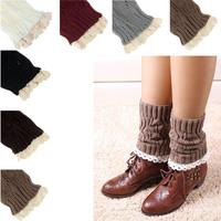 Scolour Women Lady Warm Lace Trim Crochet Knitted Boot Cuffs Toppers Leg Socks