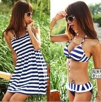 Three-piece swimsuit women split swimsuit hot springs bathing suit striped ladies seafolly push up bathing suit triangl bikini