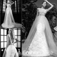 Fairytale Designer Fishtail Sleeveless Low Cut Back Wedding Gown Dress Sweep Train Women Wedding Dress For Bride SG027