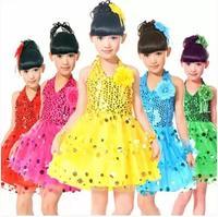 Hot sale 2015 new fashion Kids Children's clothing sequined costumes dance skirt Girls performing dance skirt