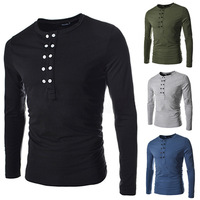 2014 New Men T shirt Mens O-Neck Slim Fit Long Sleeve T-Shirts Fashion Casual Solid Color casual Tee Shirt For Men PV01