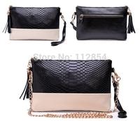 Free Shipping+Wholesale Crocodile Genuine Leather Women Day Clutch Tassel Handbags Chain Shoulder Bag Clutch,30pcs/lot