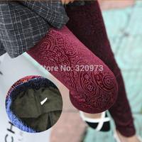 2015 new arrival Korea style elastic waist winter pleuche vintage thick warm leggings free shipping