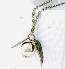 Movie Theme Jewelry Angel Wing Thin Necklaces Collares 2015 populares Quidditch Harry Potter Charm Golden Snitch