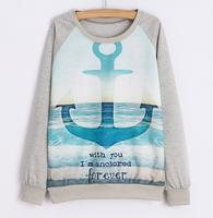 2015 Winter spring latest women's sweatshirt printed Casual top Cotton hoodie Long sleeve Sweatshirts womens hoodies pullover