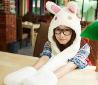 1 piece new arrivel  top salling Lovely Cartoon rabbit design Hat Warm Animal Cap Hat with Scarf Gloves