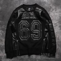 HBA hood by air 69 PU decoration men hoodies fleece hoody men sweatshirts sports top brand fashion clothing outwear hiphop 25