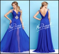New Style A-Line Special Occasion Dresses V-Neck Side Split  Applique Beads Blue Prom Gowns ZY235
