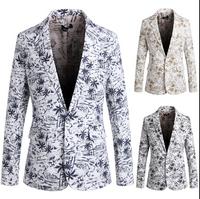 Men Floral Blazers 2014 New Fashion Men's Suits Casual Dress Business Blazer Spring Autumn Vintage Slim Ternos Masculino Z1216