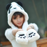 1 piece new  winter top salling Lovely Cartoon panda design Hat Warm Animal Cap Hat with Scarf Gloves