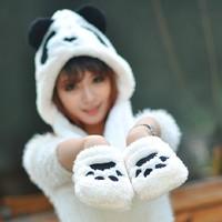 1 piece new  winter top salling Lovely Cartoon panda design Hat Warm Animal Cap Hat with Scarf Gloves