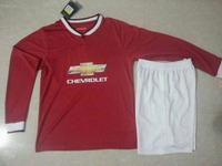 THAI DI MARIA FALCAO 14 15 Man Long Sleeve Soccer Uniform 2015 Shirt V.PERSIE MATA Home Red Away White United Jersey 14/15