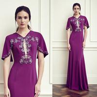 Grape Mermaid Long Evening Dress With Shawl Sleeve V-Neck Beaded Crystal  Formal Evening Gown Vestido Longo De Renda ED061