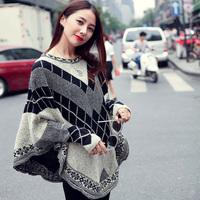 5000w attitude 2014 fashion vintage loose plaid sweater cloak cape sweater female