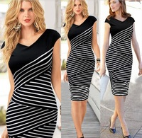 Hot Sell!2015 summer office lady elegant sheath dress business women work dress cross striped cotton dress female pencil dress