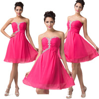 Cheap Elegant Deep Pink Sweetheart Chiffon Homecoming dresses Short Cocktail Prom Party Ball dress Women Knee Length Gown CL6136