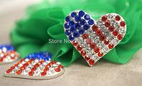 Free shipping,300PCS/LOT Patriotic Metal Shank Inset Rhinestone Hearts Sew On Decoration Valentines Accessories,QYQ05