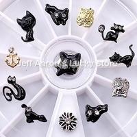 12 Mixed Styles Nail Art Glitter Rhinestones Wheel Metal Nail Decorations Design Tools Cat shape #13