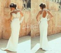 2015 High Collar Chiffon Sheer Long Sleeve Backless Wedding Dresses