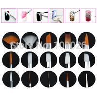High quality 15pcs/set White Nail Brush Brushes Set Nail Paint Design Pen Tools