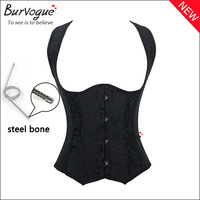 2015 new sexy corset and bustiers waist training steel boned dobby women black corset with straps push up slimming body shaper