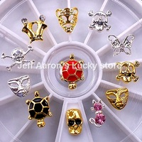 12 Mixed Styles Alloy Skull Nail Art Rhinestones Wheel Metal Nail Decorations Design Tools Accessories #16