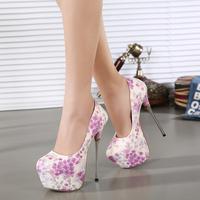 free shipping nightclub sexy fashion women pumps 2015  flower color high-heeled shoes super beautiful 16cm women shoes size35-40